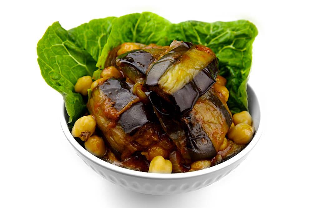 Moussaka Batinjan | Auberginenwürfel mit Kichererbsen | Libanesische Küche Berlin